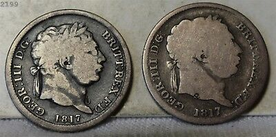 1817 Lot of Two Great Britain 1 Shilling *Free S/H After 1st Item*
