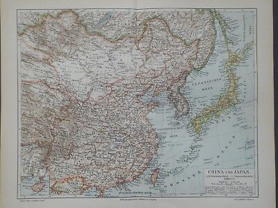 Landkarte Asien, China und Japan, Peking, Tokio, Meyer 1896