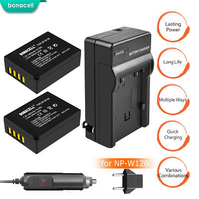 NP-W126 Battery and Charger for Fujifilm NP-W126S FinePix HS35EXR X-A1 Camera TP