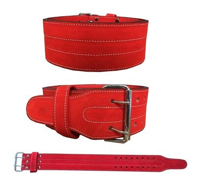 Weight Lifting Nubuck Leather Power Belt Back Support Strap Gym Training Dip RED