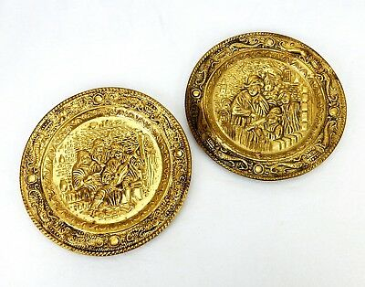 2 Vintage Embossed Wall Plates, Hammered Brass, Pub Musicians, Made in England