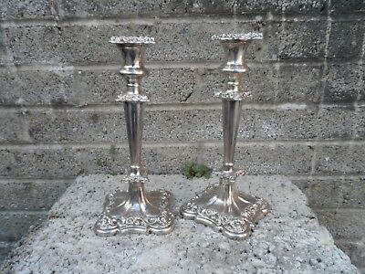 Antique Georgian old Sheffield plate silver candlesticks - circa 1830 10 inch
