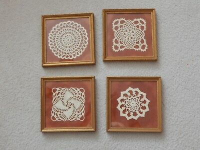 "Lot of 4 Vintage Hand Crocheted Doilies Framed Under Glass 7"" x 7"""