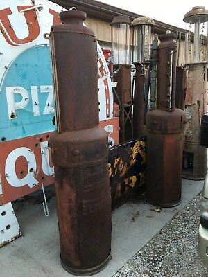 PAIR (2) ORIGINAL Early PRE VISIBLE G&B Blind 5 Gallon GAS PUMP Oil OLD STATION