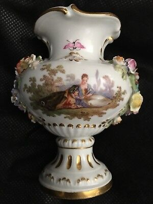 Antique Meissen Floral Encrusted Small MINIATURE Vase Crossed Swords Germany