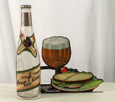 MILLER HIGH LIFE 1940s BOTTLE & DIE-CUT POINT SALE BEER SIGN MILWAUKEE WISCONSIN