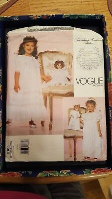 Vogue Pattern 2105 Girls' Dress with Matching Doll's Dress SZ 6-8 Uncut