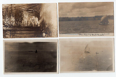 4 Early 1900s Sailboat Steamboat photo postcards Silver Lake NY ID #298