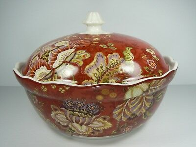 222 Fifth Gabrielle Jacobean Passion Fruit Lidded Vegetable Dish Bowl NEW