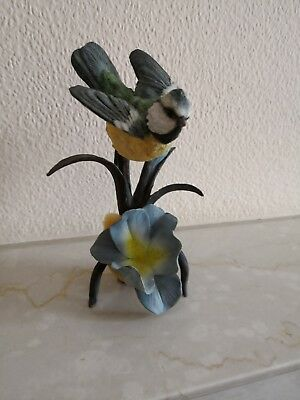 Stunning Large Country Artists Blue Tit on flower.  Excellent condition