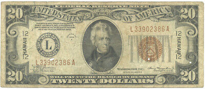 1934A $20 Hawaii WWII Emergency Issue Federal Reserve Note Mule