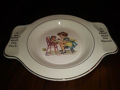 Vintage Child's Plate Fork & Spoon My Own Plate Holmes & Edwards 7.25x9