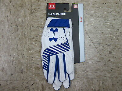 Under Armour Men's UA Clean Up Baseball Batting Gloves 1299530-400 RYL/WHT Small