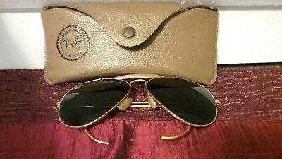 RAY BAN Aviator-Made in USA-Vintage-Bausch Lomb-58-14-Sunglasses