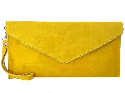 61bc6c081f8 Yellow Wedding Clutch Bag Evening Bag Oversize Envelope Suede Prom Made in  Italy