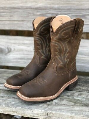 f28401a6f8c ARIAT MEN'S HYBRID Rancher H2O Oil Distressed Brown Square Toe Boot 10014067