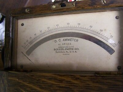 Roller-Smith Co. Dc Ammeter Wood Case #39952