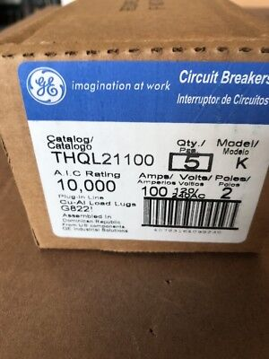 GENERAL ELECTRIC THQL21100 CIRCUIT BREAKER 2 POLE 100 AMP 240V (Box Of 5) (NEW)