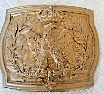 Vintage Brass Belt Buckle EAGLE with CROWN above Head, wreath edges, military