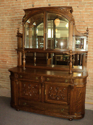 Large Quarter Sawn Antique Oak Buffet, China Cabinet, Display Cabinet