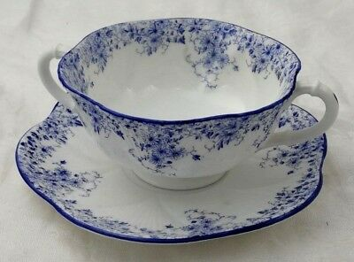 "Cream Soup 6 3/8"" Dainty Blue Shelley England Bone China 051/28 Floral"