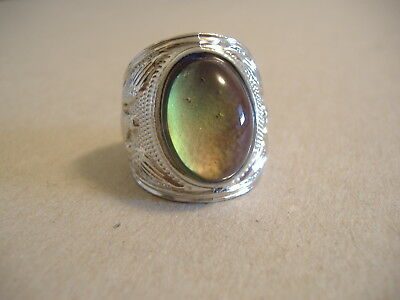 Vintage Style Silver Tone Oval Mood Ring Size 9 1/2 Solid Bnd.