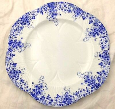 "Dinner Plate 10 3/4"" Blue Dainty Shelley England Bone China Floral 051/28"