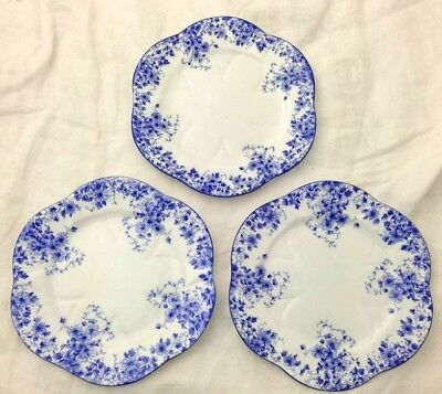 "3 Bread & Butter Plates 6"" Blue Dainty Shelley England Bone China Floral 051/28"