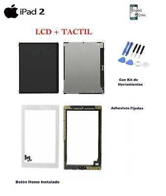 Lcd + Pantalla Tactil Digitalizador + Adhesivo + Home Apple Ipad 2 Blanco Blanca
