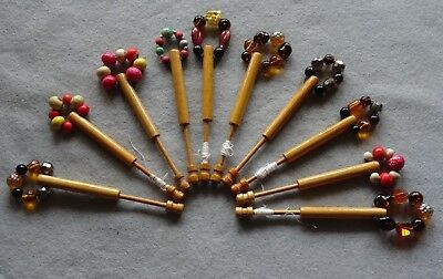10 Vintage Wooden Lace Bobbins with Spangles