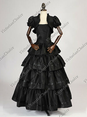 Victorian Southern Belle Black Gone with the Wind Cosplay Ball Gown Dress N 193