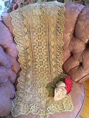 Antique Lace Table Runner French Tambour Cotton Netting Ivory A65