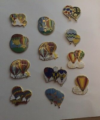 Vintage Hot Air Balloon Pins Set Of 12 Larger Sized With Multiple Balloons