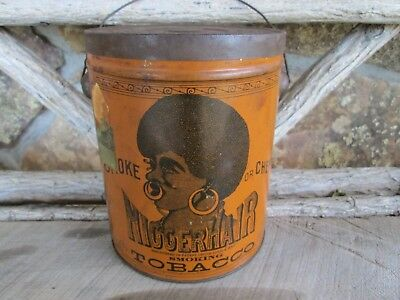 "Black Americana Antique ""bigger"" Hair Tobacco Tin Container In Used Condition"