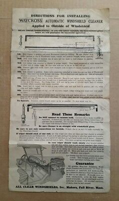 Waycross Automatic Windshield Cleaner,Installation Directions,1920's