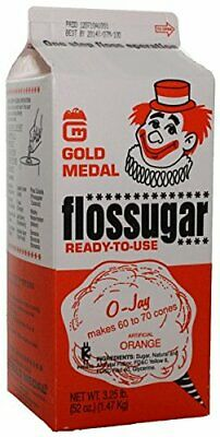 Cotton Candy Flossugar Flavor: Orange, Net Wt. 3.25 lbs  1 Carton