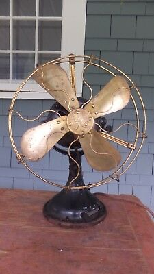 Vintage Ge Brass Blade And Cage Fan-1909