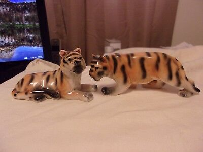 Vintage Tiger and Tigeress Figural Salt And Pepper Shaker Set
