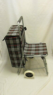 TROLLY BAG SHOPPING GROCERY CART LARGE STORAGE w/ FOLDING CHAIR LIGHTWEIGHT