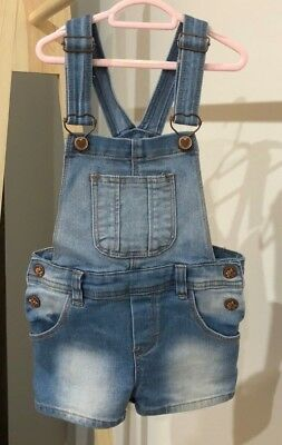 Girl's Gorgeous Denim Overall Romper Shorts - Size 3