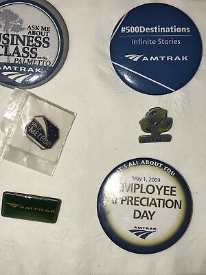 Amtrak Pins and Buttons 3 promotional pins and 3 employee pins.