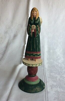 Folk Art Style Carved Wood Angel On A Pedestal Base Musical Notes On Hands Green