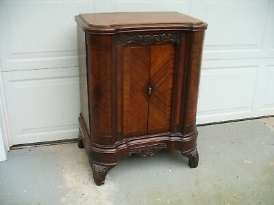 Old Antique Burled Walnut Radio Cabinet