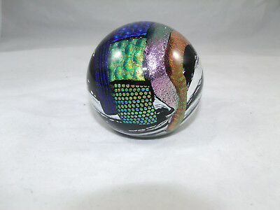 1999 Mad Art Glass Studio Dichroic Multicolor Paperweight - ROUND