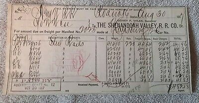 The Shenandoah Valley Railroad company freight manifest 1887