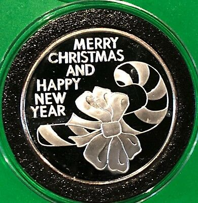 Merry Christmas & Happy New Year 1 Troy Oz .999 Fine Silver Round Proof Coin 999
