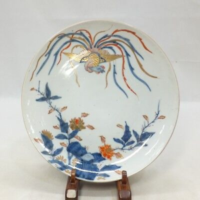 E964 Real Japanese OLD IMARI popular SOME-NISHIKI porcelain plate with phoenix 5