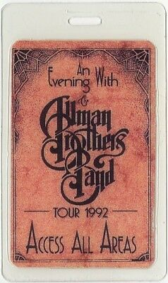 Allman Brothers vintage 1992 concert Laminated Backstage Pass Evening with tour