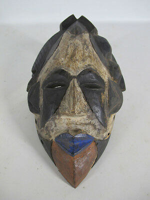 Vintage African Punu Tribe Hand Carved & Painted Wood Face Mask Gabon #11 yqz