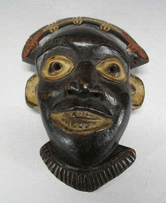Vintage African Bamileke Tribe Carved & Painted Wood Face Mask Cameroon #20 yqz